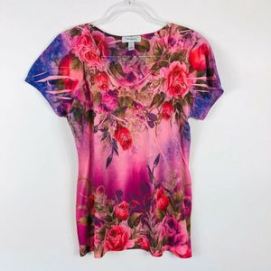 Dressbarn Pink Floral Sublimation Top Rhinestone
